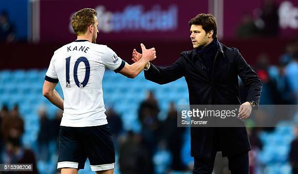 Mauricio Pochettino manager of Tottenham Hotspur and Harry Kane of Tottenham Hotspur shake hands after victory in the Barclays Premier League match...