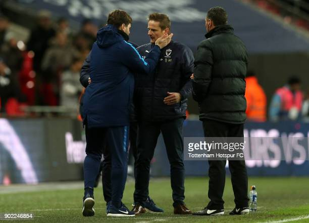 Mauricio Pochettino Manager of Tottenham Hotspur and Neal Ardley Manager of AFC Wimbledon speak following The Emirates FA Cup Third Round match...