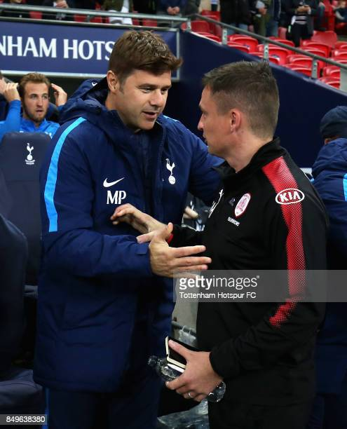 Mauricio Pochettino Manager of Tottenham Hotspur and Paul Heckingbottom manager of Barnsley shake hands prior to the Carabao Cup Third Round match...