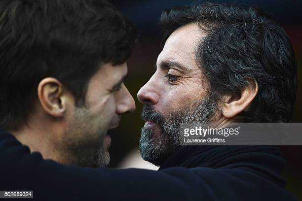 Mauricio Pochettino Manager of Tottenham Hotspur and Quique Flores manager of Watford greet prior to the Barclays Premier League match between...