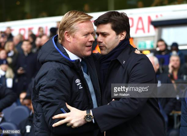 Mauricio Pochettino, Manager of Tottenham Hotspur and Ronald Koeman, Manager of Everton shake hands during the Premier League match between Tottenham...