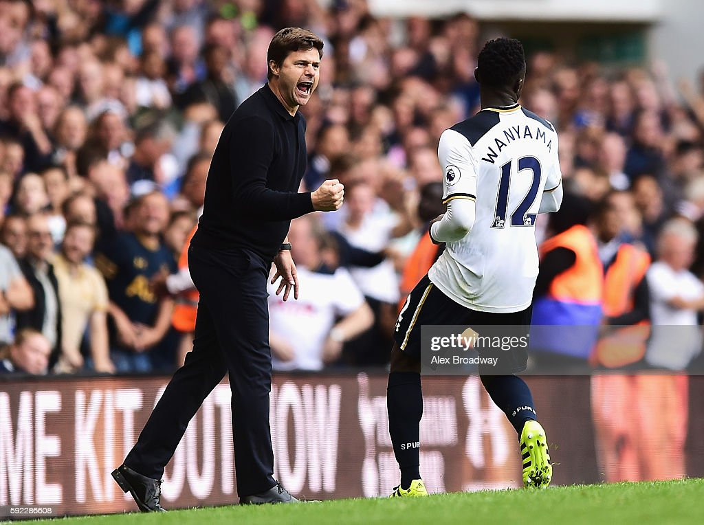 Mauricio Pochettino, Manager of Tottenham Hotspur and Victor Wanyama of Tottenham Hotspur celebrate during the Premier League match between Tottenham Hotspur and Crystal Palace at White Hart Lane on August 20, 2016 in London, England.