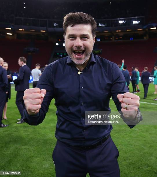 Mauricio Pochettino Manager of Tottenham Hotspur celebrates after the final whistle during the UEFA Champions League Semi Final second leg match...