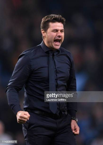 Mauricio Pochettino, Manager of Tottenham Hotspur celebrates at the end of the match during the UEFA Champions League Quarter Final second leg match...