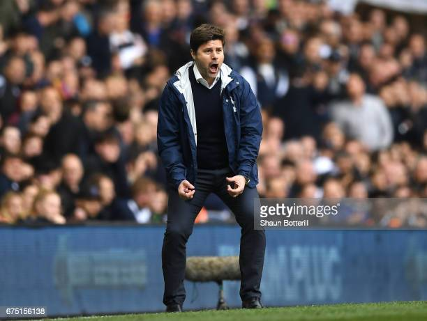 Mauricio Pochettino Manager of Tottenham Hotspur celebrates his sides second goal during the Premier League match between Tottenham Hotspur and...
