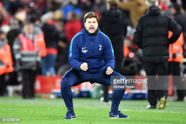Mauricio Pochettino Manager of Tottenham Hotspur celebrates his sides second goal during the Premier League match between Liverpool and Tottenham...