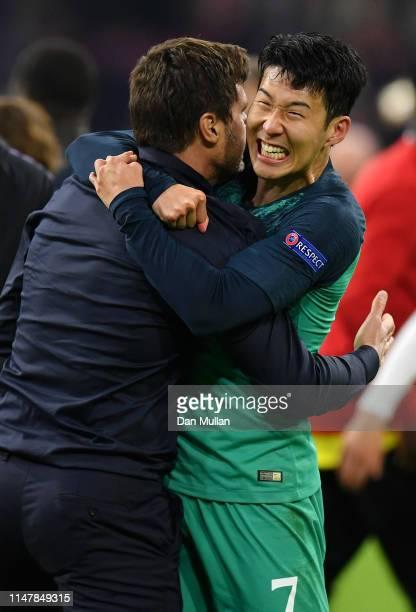 Mauricio Pochettino Manager of Tottenham Hotspur celebrates victory with HeungMin Son of Tottenham Hotspur after the UEFA Champions League Semi Final...