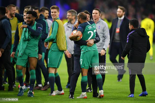 Mauricio Pochettino Manager of Tottenham Hotspur celebrates victory with Lucas Moura of Tottenham Hotspur during the UEFA Champions League Semi Final...