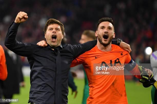Mauricio Pochettino, Manager of Tottenham Hotspur celebrates victory with Hugo Lloris of Tottenham Hotspur after the UEFA Champions League Semi Final...