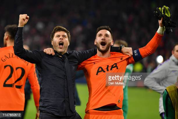 Mauricio Pochettino Manager of Tottenham Hotspur celebrates victory with Hugo Lloris of Tottenham Hotspur after the UEFA Champions League Semi Final...