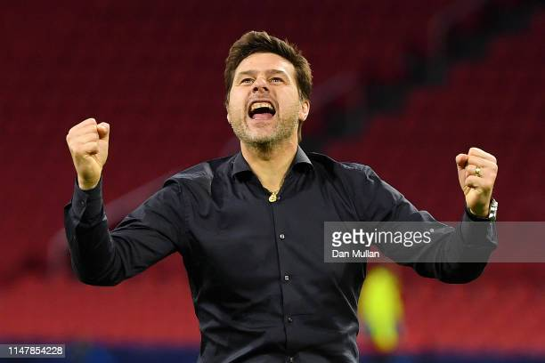 Mauricio Pochettino Manager of Tottenham Hotspur celebrates victory after the UEFA Champions League Semi Final second leg match between Ajax and...