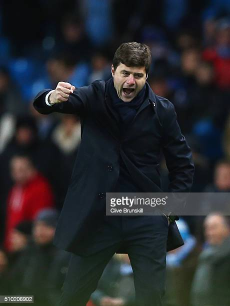 Mauricio Pochettino Manager of Tottenham Hotspur celebrates victory during the Barclays Premier League match between Manchester City and Tottenham...