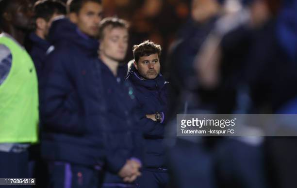 Mauricio Pochettino, Manager of Tottenham Hotspur during the Carabao Cup Third Round match between Tottenham Hotspur and Colchester United at...