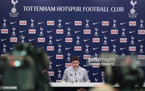 Mauricio Pochettino Manager of Tottenham Hotspur during the Tottenham Hotspur press conference at Tottenham Hotspur Training Centre on December 07...