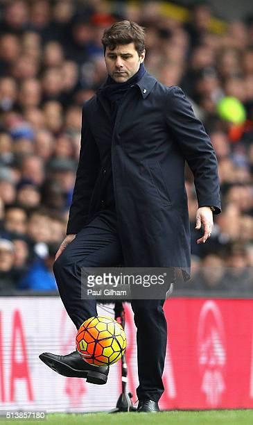 Mauricio Pochettino Manager of Tottenham Hotspur kicks the ball during the Barclays Premier League match between Tottenham Hotspur and Arsenal at...