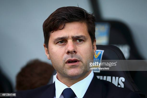 Mauricio Pochettino manager of Tottenham Hotspur looks on ahead of the Barclays Premier League match between Swansea City and Tottenham Hotspur at...