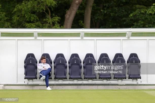 Mauricio Pochettino Manager of Tottenham Hotspur looks on during a Tottenham Hotspur training session at the Tottenham Hotspur Training Centre on May...