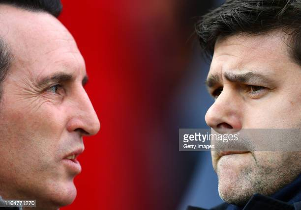Mauricio Pochettino, Manager of Tottenham Hotspur looks on during the Premier League match between Tottenham Hotspur and Everton at White Hart Lane...