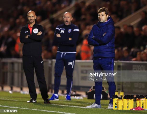 Mauricio Pochettino, Manager of Tottenham Hotspur looks on during the Carabao Cup Third Round match between Colchester United and Tottenham Hotspur...