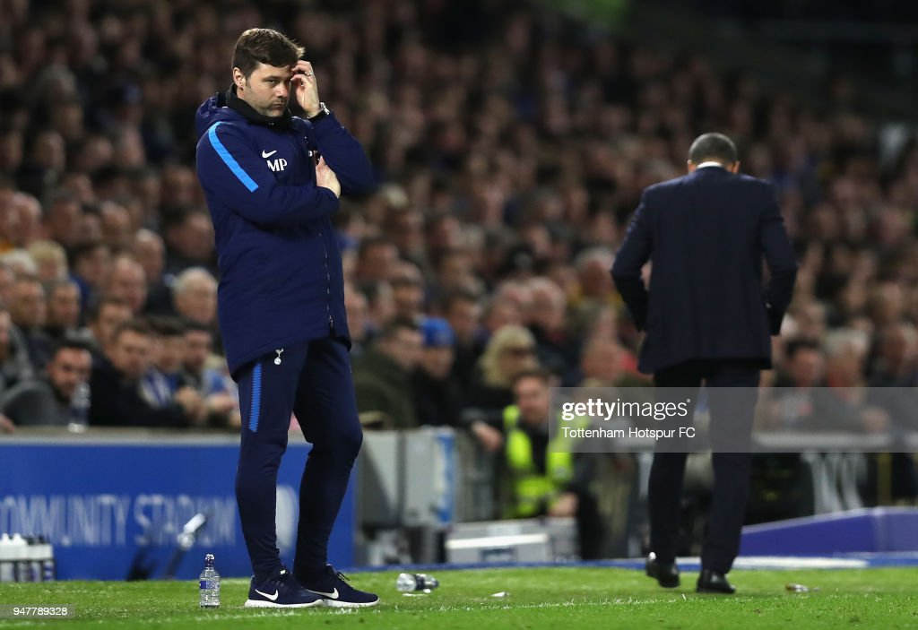 Mauricio Pochettino, Manager of Tottenham Hotspur looks on during the Premier League match between Brighton and Hove Albion and Tottenham Hotspur at Amex Stadium on April 17, 2018 in Brighton, England.