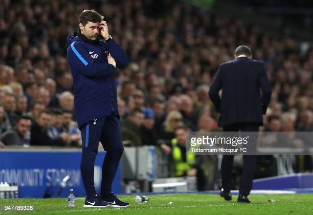 Mauricio Pochettino Manager of Tottenham Hotspur looks on during the Premier League match between Brighton and Hove Albion and Tottenham Hotspur at...