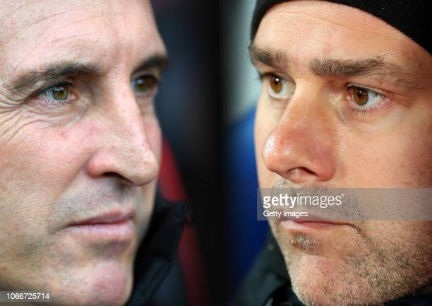 COMPOSITE OF IMAGES Image numbers 10651129341059968412 GRADIENT ADDED In this composite image a comparison has been made between Unai Emery Manager...