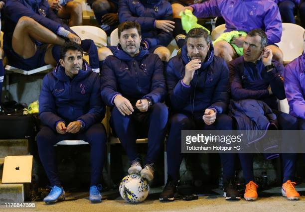 Mauricio Pochettino, Manager of Tottenham Hotspur on the bench during the Carabao Cup Third Round match between Tottenham Hotspur and Colchester...