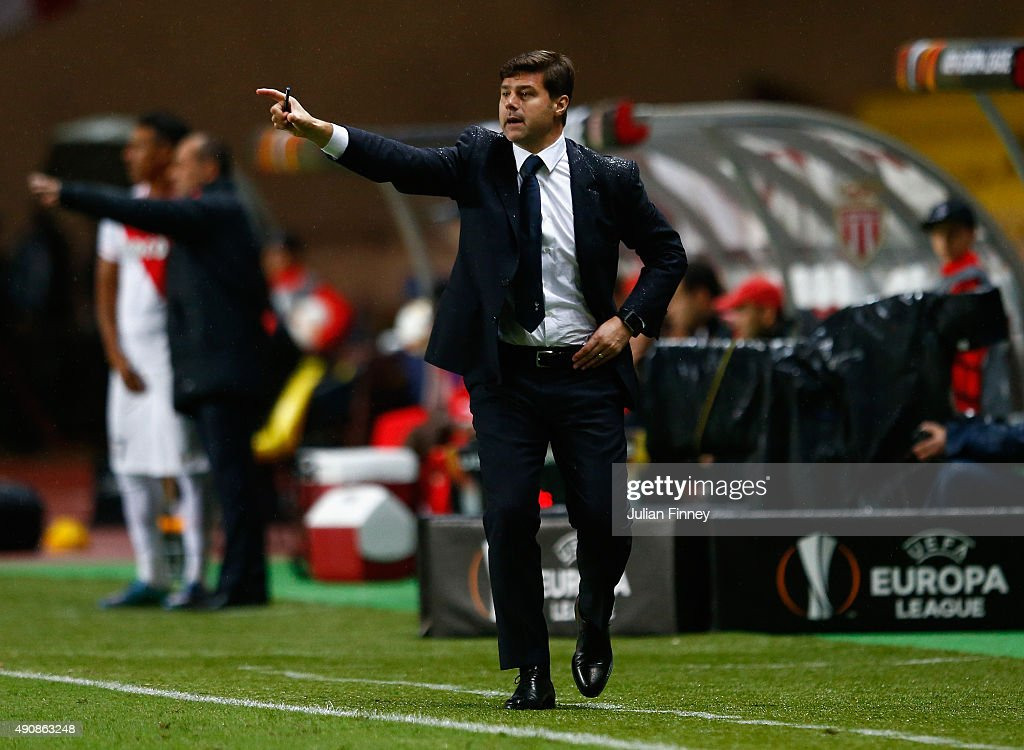 Mauricio Pochettino manager of Tottenham Hotspur on the touchline during the UEFA Europa League group J match between AS Monaco FC and Tottenham Hotspur FC at Stade Louis II on October 1, 2015 in Monaco, Monaco.