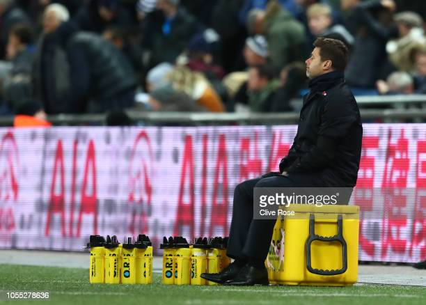 Mauricio Pochettino Manager of Tottenham Hotspur reacts during the Premier League match between Tottenham Hotspur and Manchester City at Wembley...