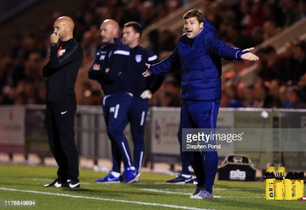 Mauricio Pochettino, Manager of Tottenham Hotspur reacts during the Carabao Cup Third Round match between Colchester United and Tottenham Hotspur at...