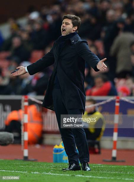 Mauricio Pochettino manager of Tottenham Hotspur reacts during the Barclays Premier League match between Stoke City and Tottenham Hotspur at the...