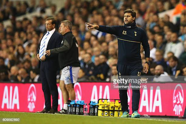 Mauricio Pochettino Manager of Tottenham Hotspur reacts during the EFL Cup Third Round match between Tottenham Hotspur and Gillingham at White Hart...