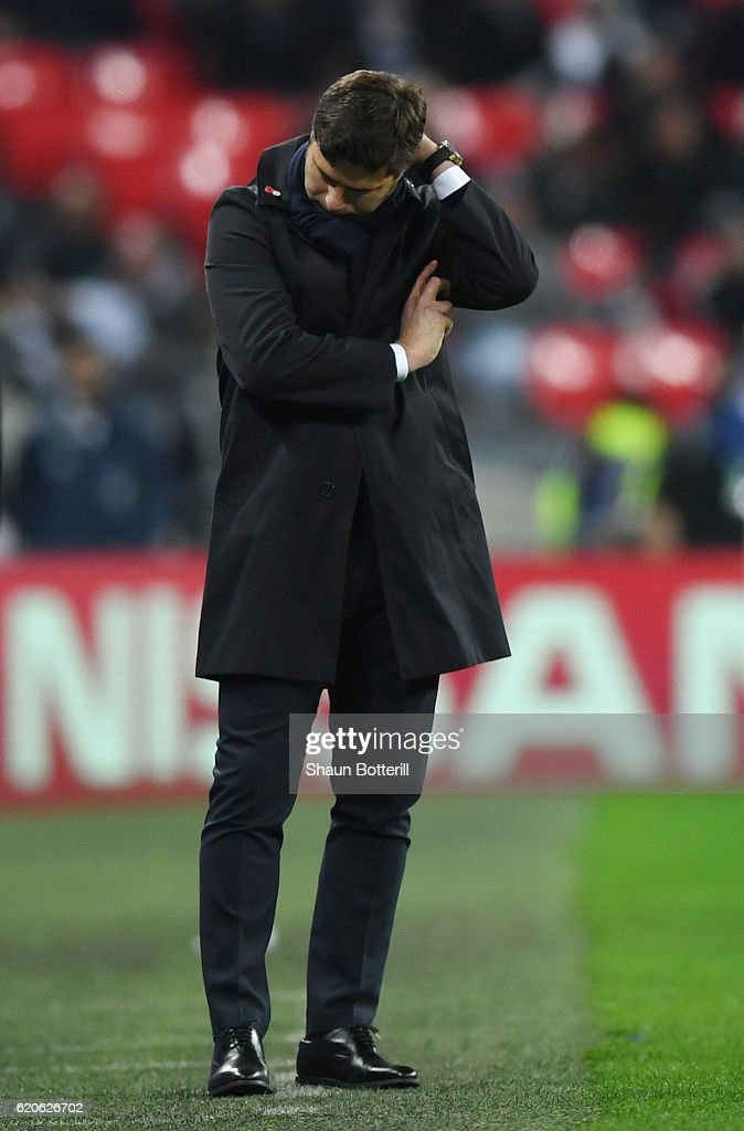 Mauricio Pochettino, Manager of Tottenham Hotspur reacts during the UEFA Champions League Group E match between Tottenham Hotspur FC and Bayer 04 Leverkusen at Wembley Stadium on November 2, 2016 in London, England.
