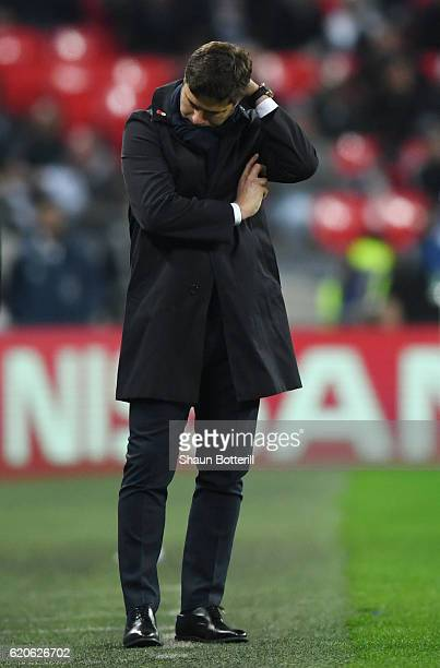 Mauricio Pochettino Manager of Tottenham Hotspur reacts during the UEFA Champions League Group E match between Tottenham Hotspur FC and Bayer 04...
