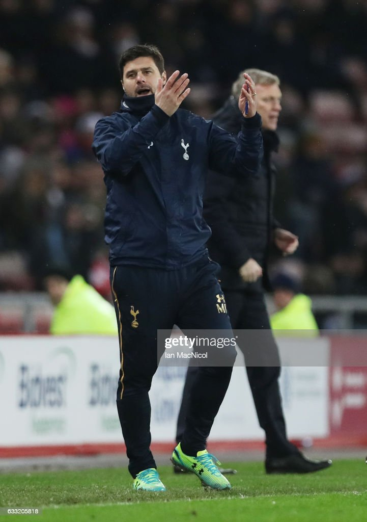 Mauricio Pochettino, Manager of Tottenham Hotspur reacts during the Premier League match between Sunderland and Tottenham Hotspur at Stadium of Light on January 31, 2017 in Sunderland, England.