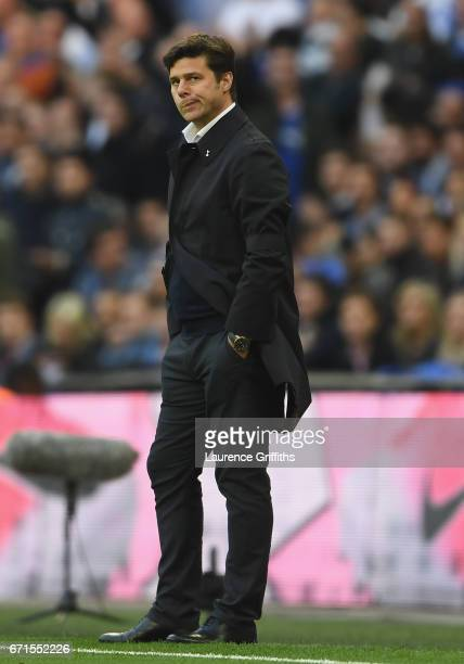Mauricio Pochettino Manager of Tottenham Hotspur reacts during The Emirates FA Cup SemiFinal between Chelsea and Tottenham Hotspur at Wembley Stadium...
