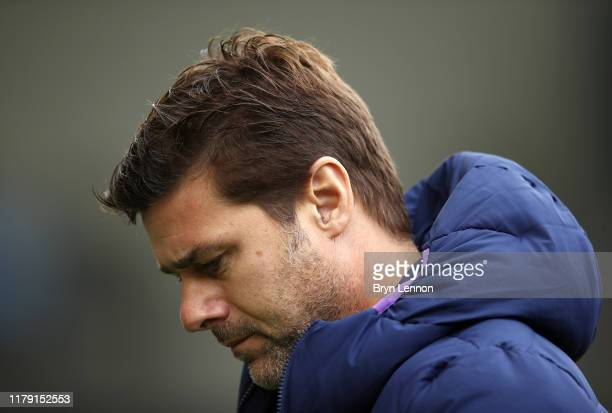 Mauricio Pochettino, Manager of Tottenham Hotspur reacts prior to the Premier League match between Brighton & Hove Albion and Tottenham Hotspur at...