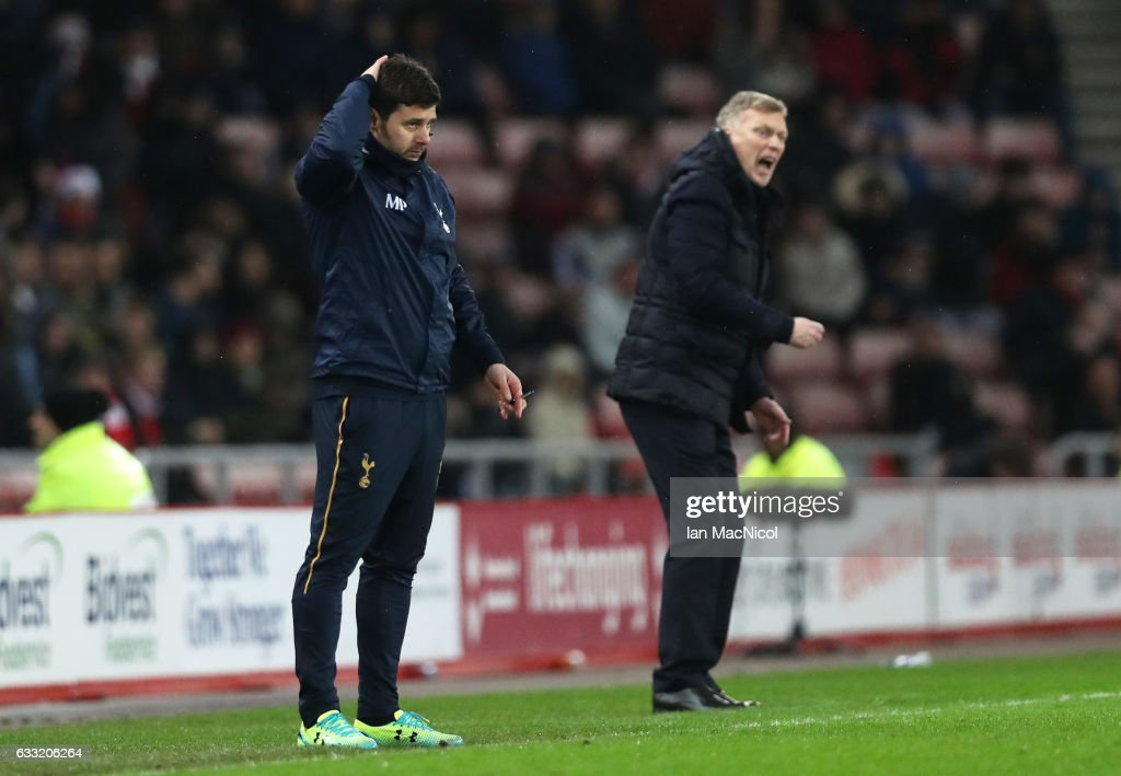 Mauricio Pochettino, Manager of Tottenham Hotspur scratches his head during the Premier League match between Sunderland and Tottenham Hotspur at Stadium of Light on January 31, 2017 in Sunderland, England.