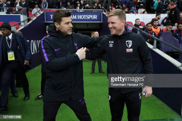 Mauricio Pochettino Manager of Tottenham Hotspur shakes hands with Eddie Howe Manager of AFC Bournemouth ahead of the Premier League match between...