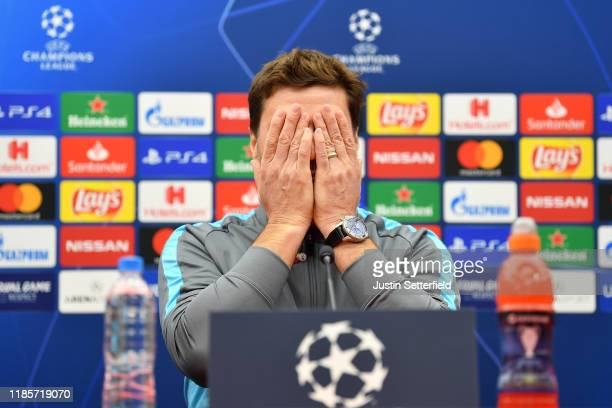 Mauricio Pochettino, Manager of Tottenham Hotspur speaks during Tottenham Hotspur Press Conference ahead of the UEFA Champions League group B match...