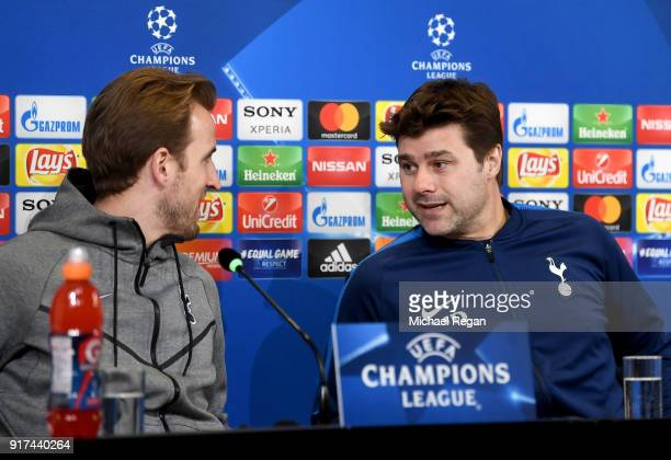 Mauricio Pochettino Manager of Tottenham Hotspur speaks to Harry Kane of Tottenham Hotspur during the press conference at Allianz Stadium on February...