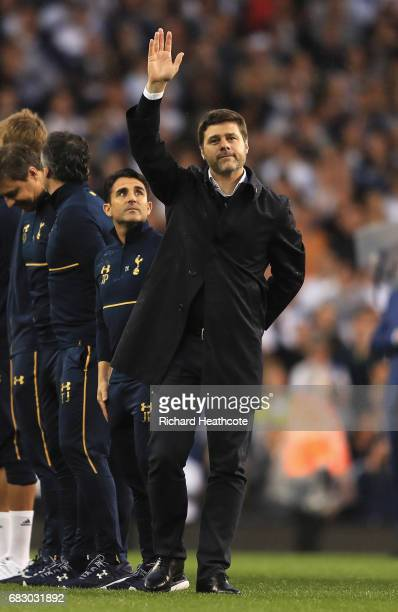 Mauricio Pochettino, Manager of Tottenham Hotspur waves to the fans during the closing ceremony after the Premier League match between Tottenham...