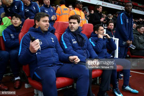 Mauricio Pochettino Manager of Tottenham Hotspur with his backroom staff Jesús Pérez Assistant Manager of Tottenham Hotspurs and Miguel D'agostino...