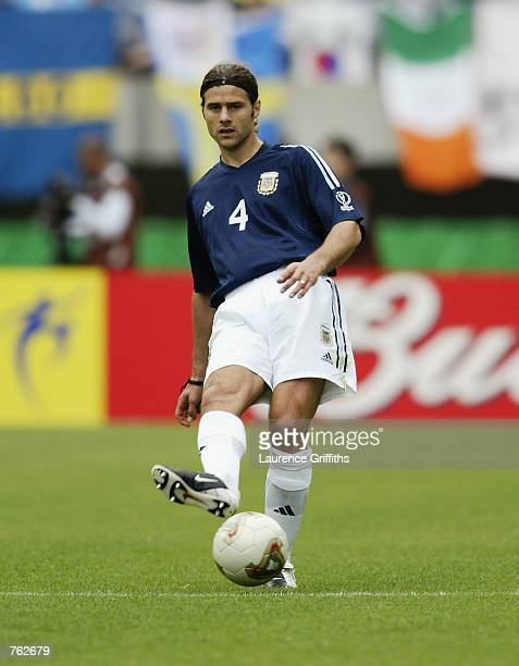 Mauricio Pochettino of Argentina passes the ball during the FIFA World Cup Finals 2002 Group F match between Argentina and Sweden played at the...