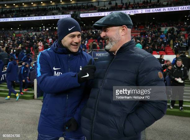 Mauricio Pochettino of Tottenham Hotspur greets Keith Hill of Rochdale prior to the Emirates FA Cup Fifth Round Replay match between Tottenham...