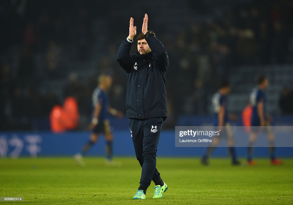 Mauricio Pochettino the manager of Spurs applauds the travelling fans following their 2-0 victory during the Emirates FA Cup Third Round Replay match between Leicester City and Tottenham Hotspur at The King Power Stadium on January 20, 2016 in Leicester, England.