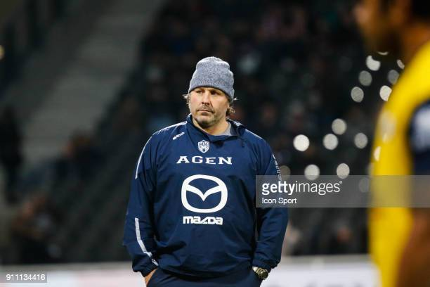 Mauricio Reggiardo coach of Agen during the Top 14 match between Lyon and Agen at Gerland Stadium on January 27 2018 in Lyon France