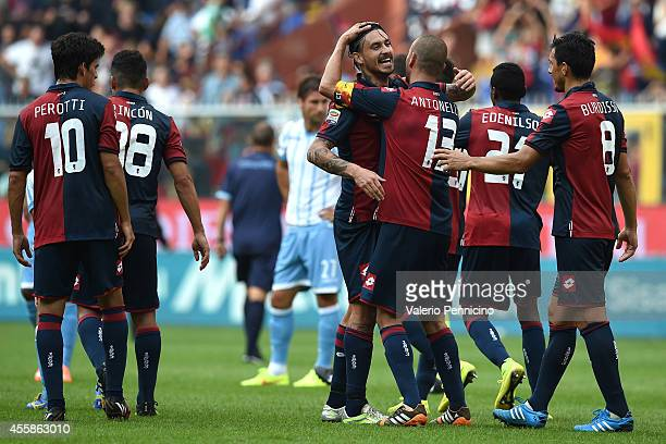Mauricio Ricardo Pinilla of Genoa CFC celebrates victory at the end of the Serie A match between Genoa CFC and SS Lazio at Stadio Stadio Luigi...