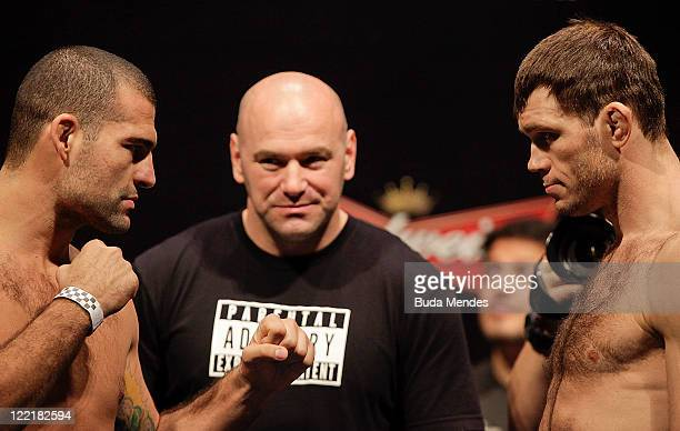 Mauricio Rua and Forrest Griffin at the UFC Rio Weigh-in at HSBC Arena on August 26, 2011 in Rio de Janeiro, Brazil.