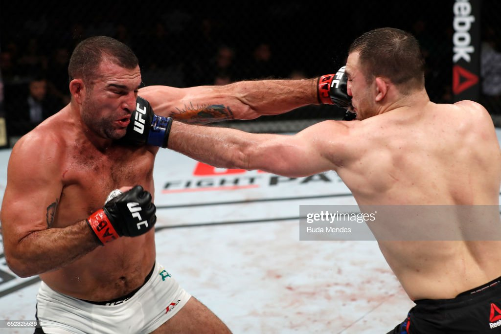 Mauricio Rua of Brazil and Gian Villante trade punches in their light heavyweight bout during the UFC Fight Night event at CFO - Centro de Formaco Olimpica on March 11, 2017 in Fortaleza, Brazil.